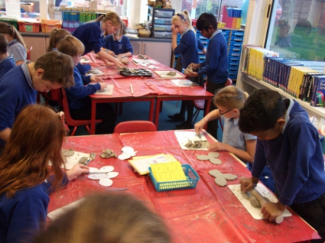 Making clay poppies