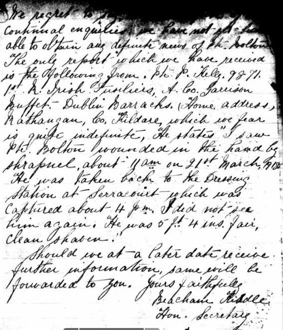 Letter re Bolton