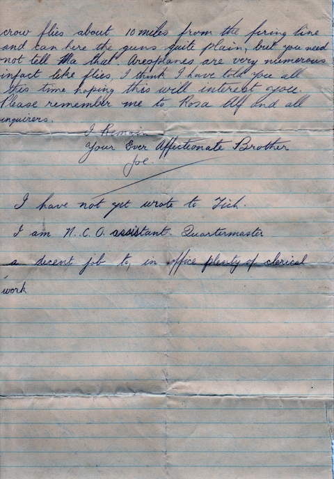 H S Smith letter from Joe re travel 2