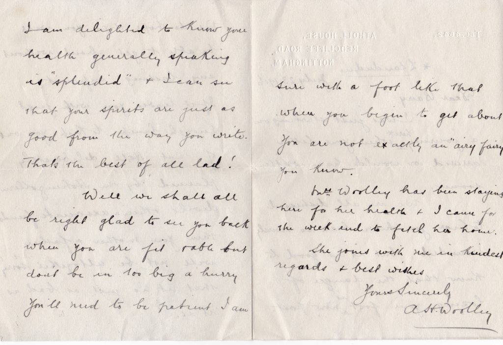 Jack Barry letter from Woolley