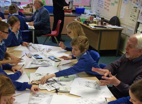Pupils drawing with Grange Art Group