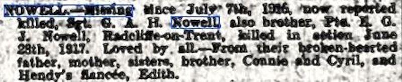 Nowell newspaper cutting