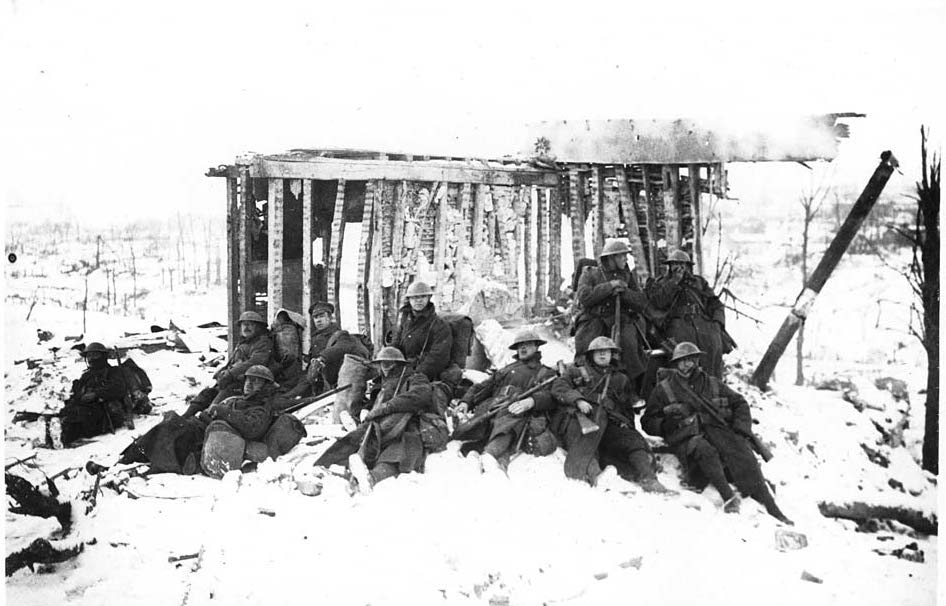 Troops resting in the snow
