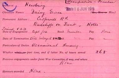 Daisy Newbury VAD card