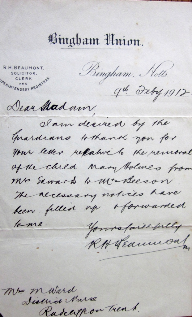 Bingham Union letter to Mary Ward