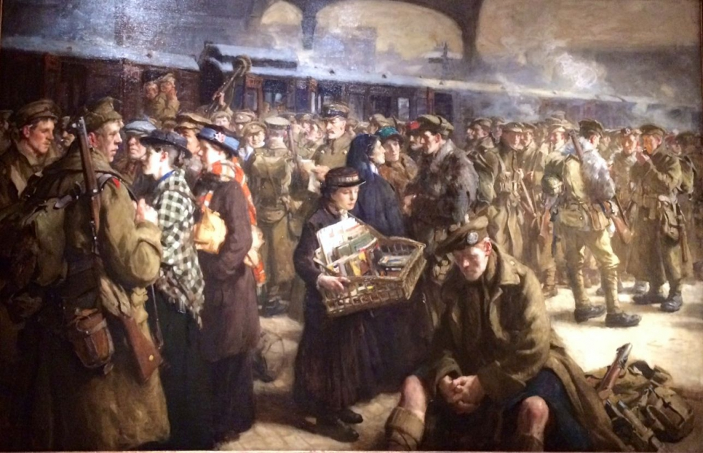 The Return to the Front: Victoria Railway Station (1916) by Robert Jack (1866-1952)
