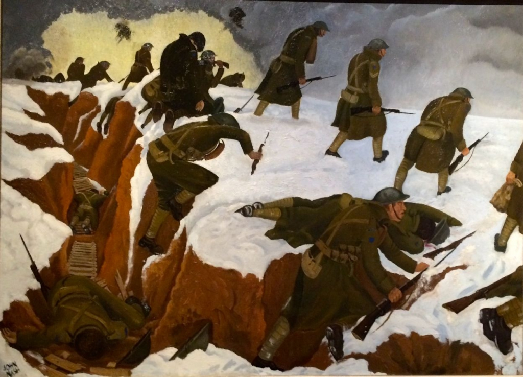 'Over the Top' 1st Artists Rifles at Marcoing 30th December 1917 by John Nash
