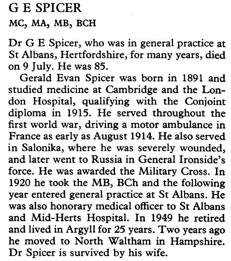 Gerald Evan Spicer obituary 18 Sept BMJ 1976