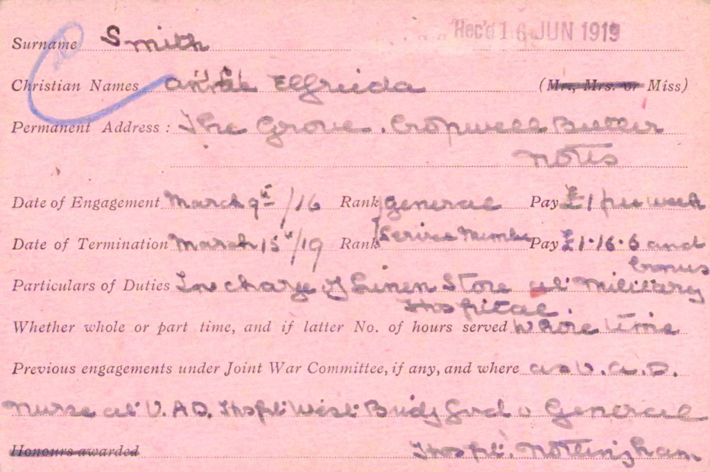 Annie Elfrieda Smith VAD card side 1