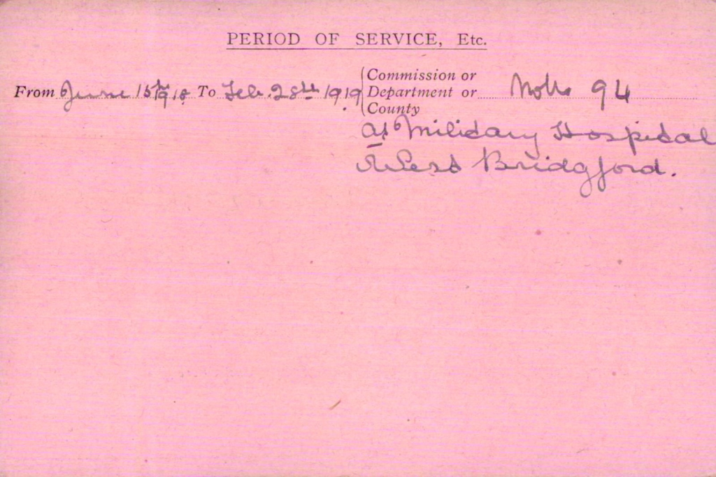 Louisa Mary Emily Sherlock VAD card side 2