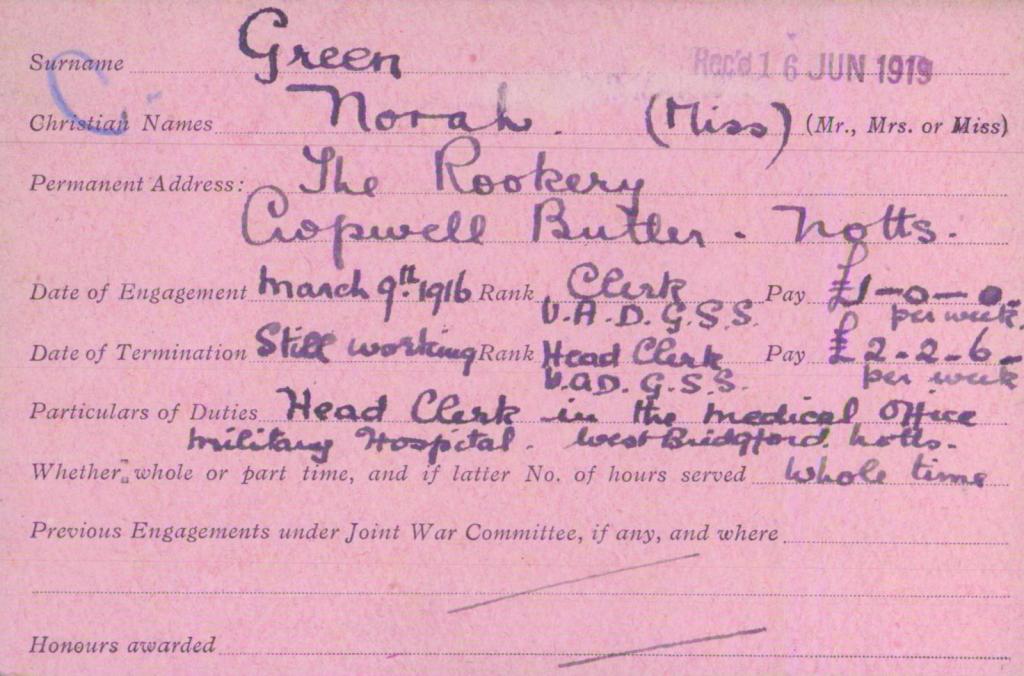 Norah Green VAD card side 1